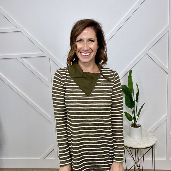 Olive Striped Long Sleeve w/asymmetrical Neck