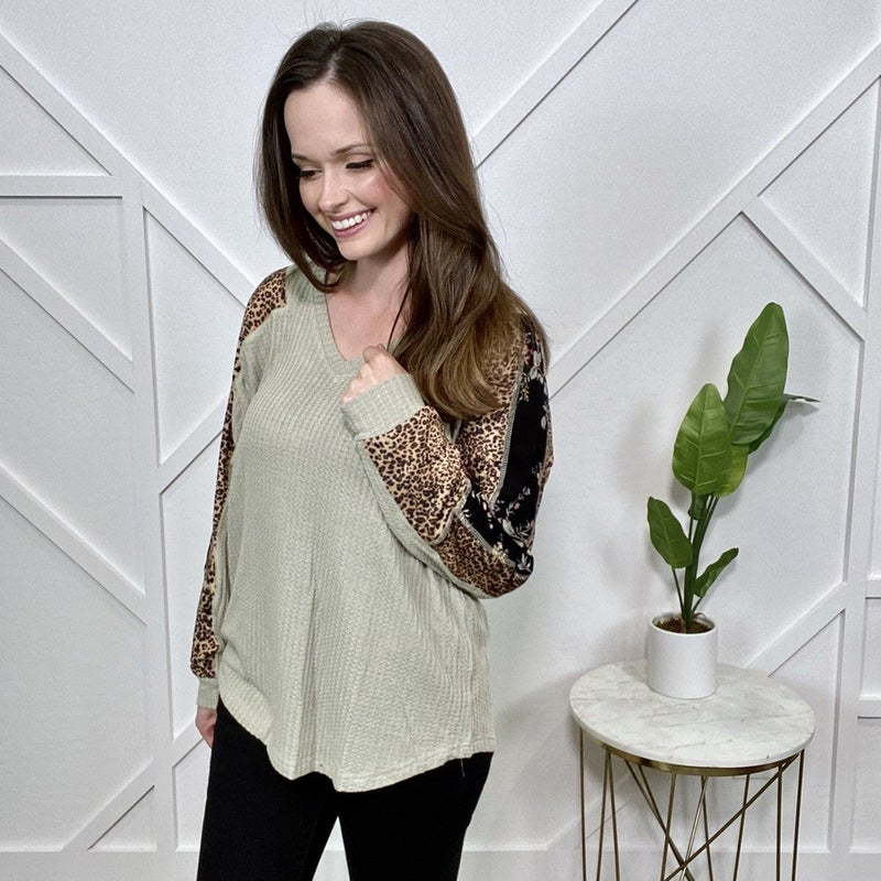 Sage Thermal Top with Leopard Print Sleeves