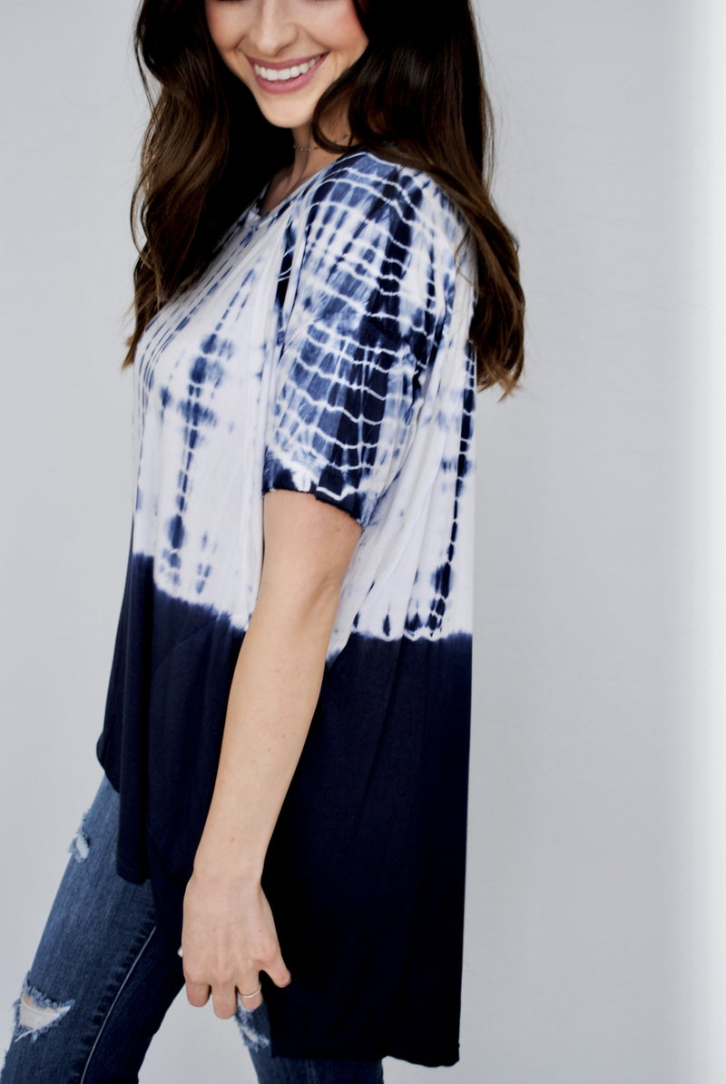 Navy Blue Tie Dye Dip Top