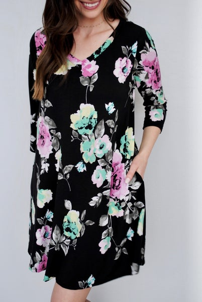 Purple/Green Floral 3/4 Sleeve Dress