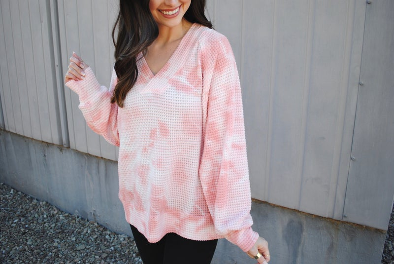 Pink Hand Dyed Waffle Knit Top