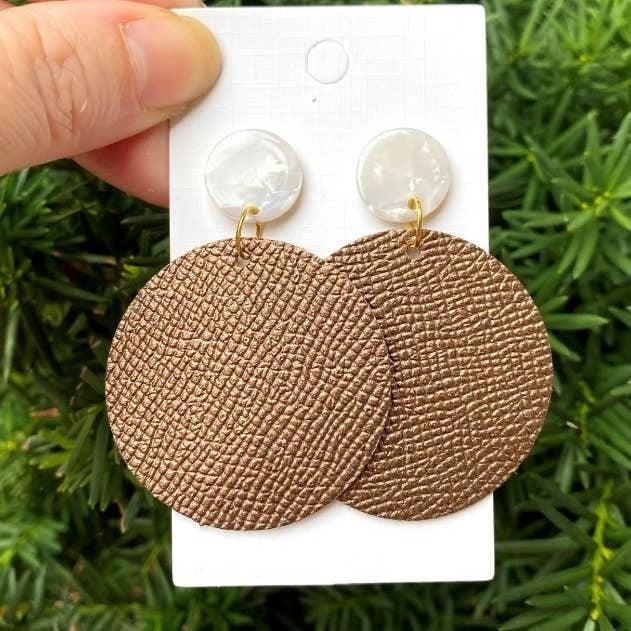 Bronze Disc Ivory Post Earrings