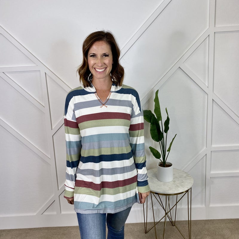 Striped hoodie with v-neck
