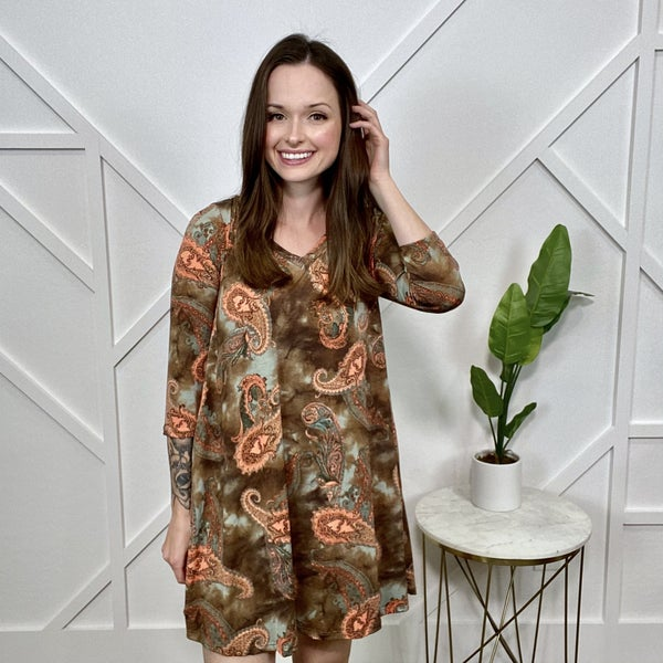Chocolate Coral Paisley Dress