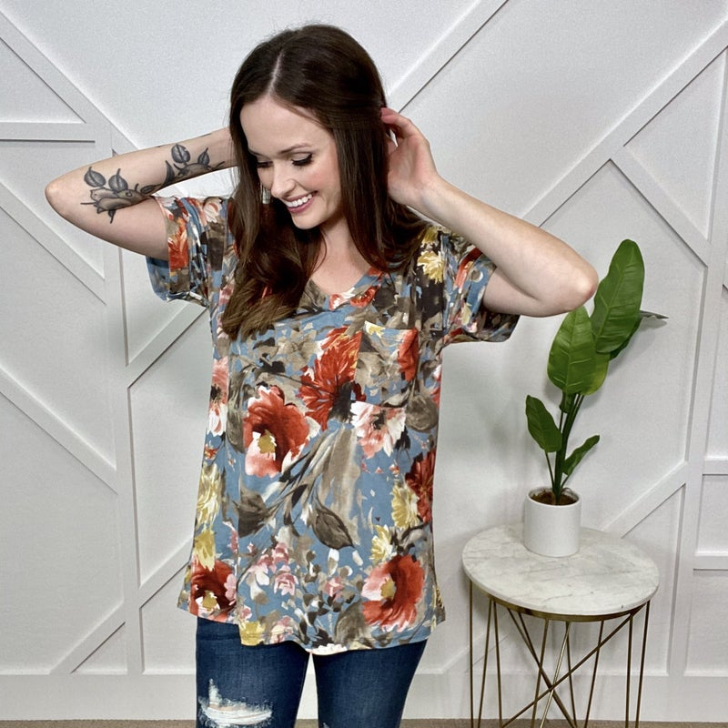 Blue Background Fall Floral Boyfriend Top