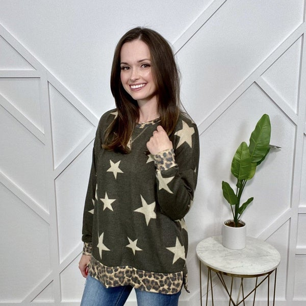 Olive Star Sweater