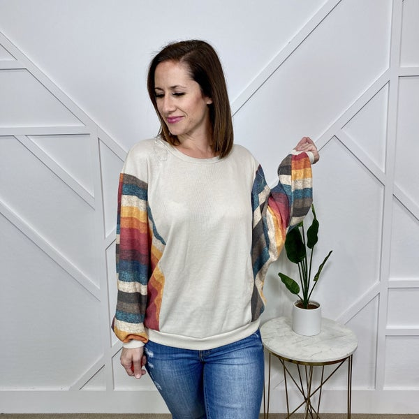 Sunset Stripe Dolman Sleeve Top