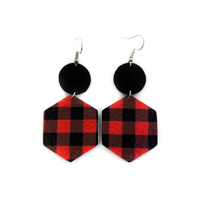 Plaid Leather Earring