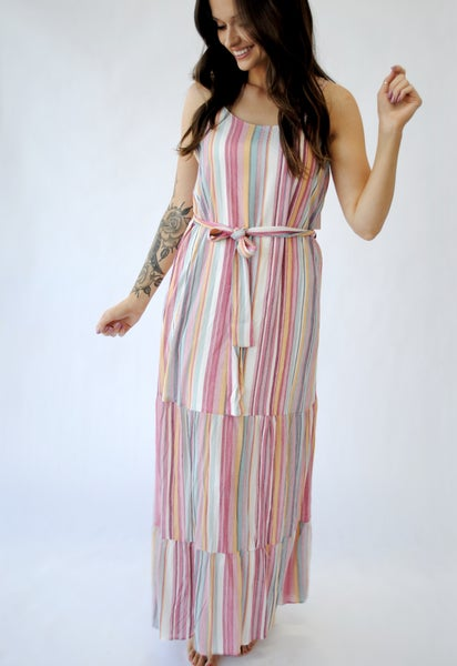 Multi Pink Striped Dress