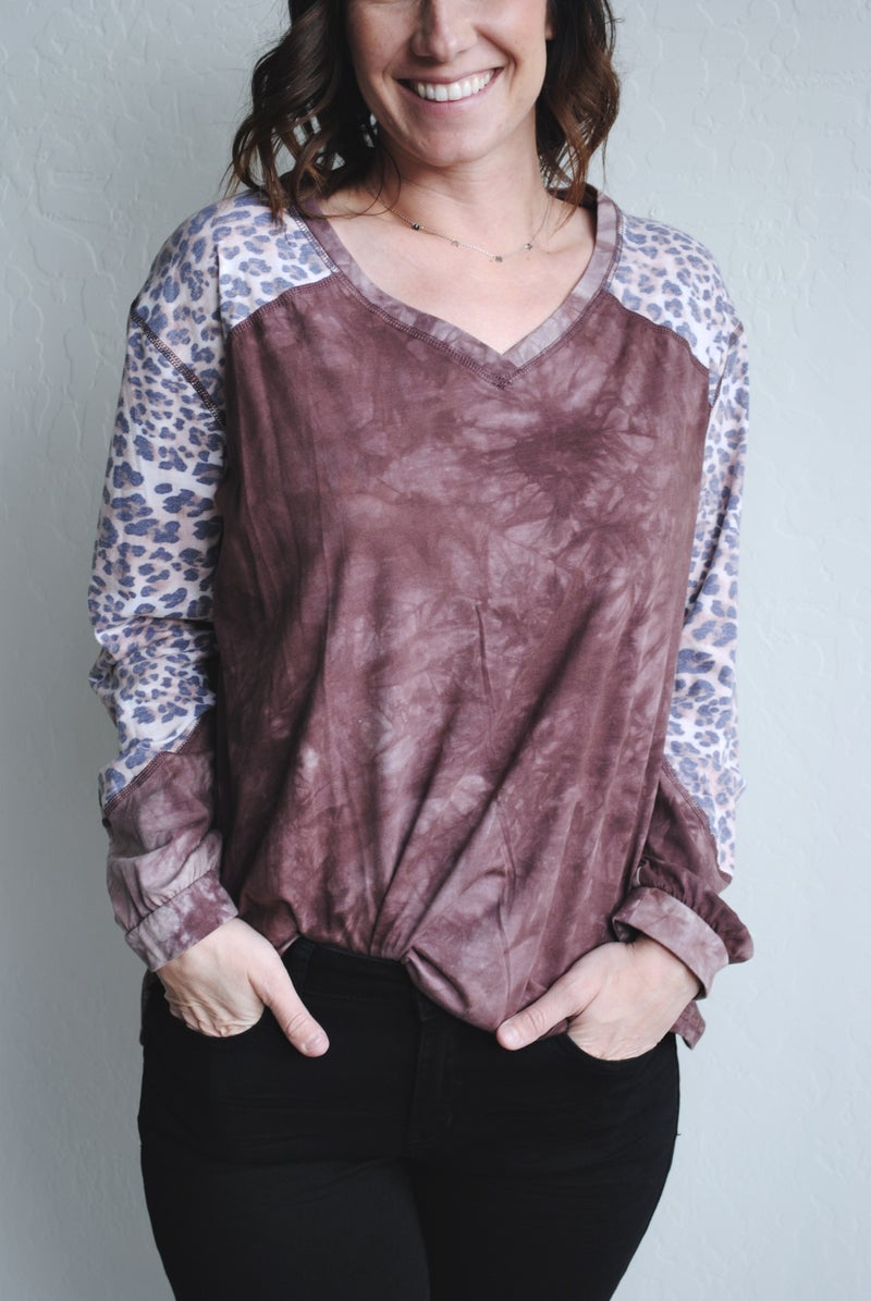 Wine Acid Wash with Leopard Sleeves