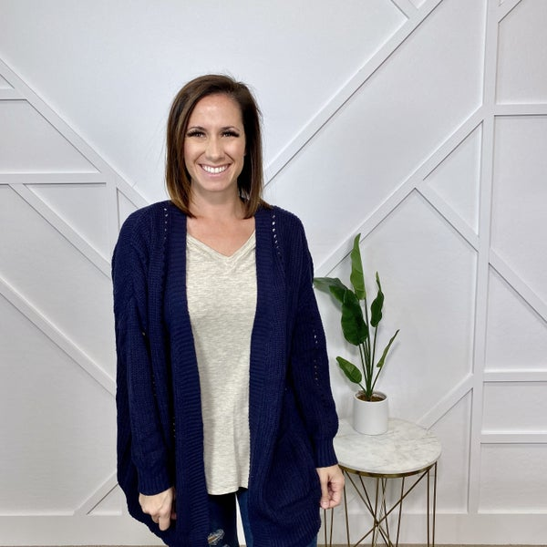 Navy Ribbed Crochet Cardigan
