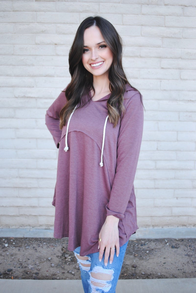 Wine Hoodie with V-Neck Slit