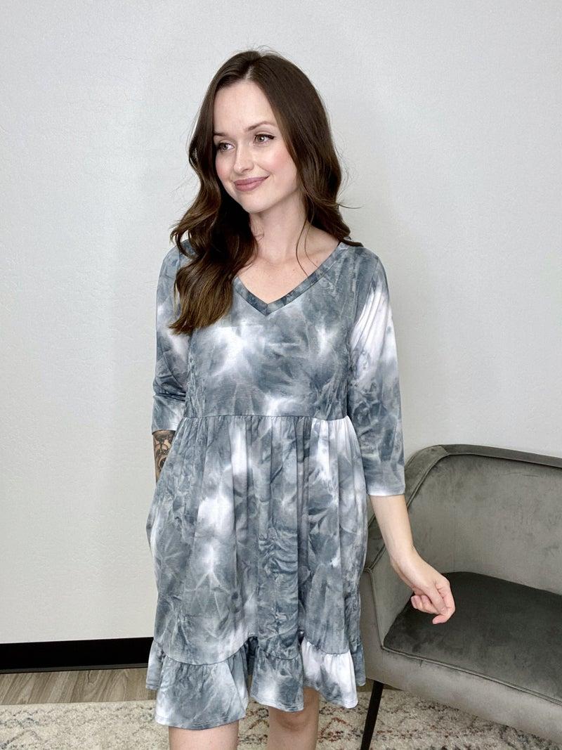 Grey Tie Dye Ruffle Dress