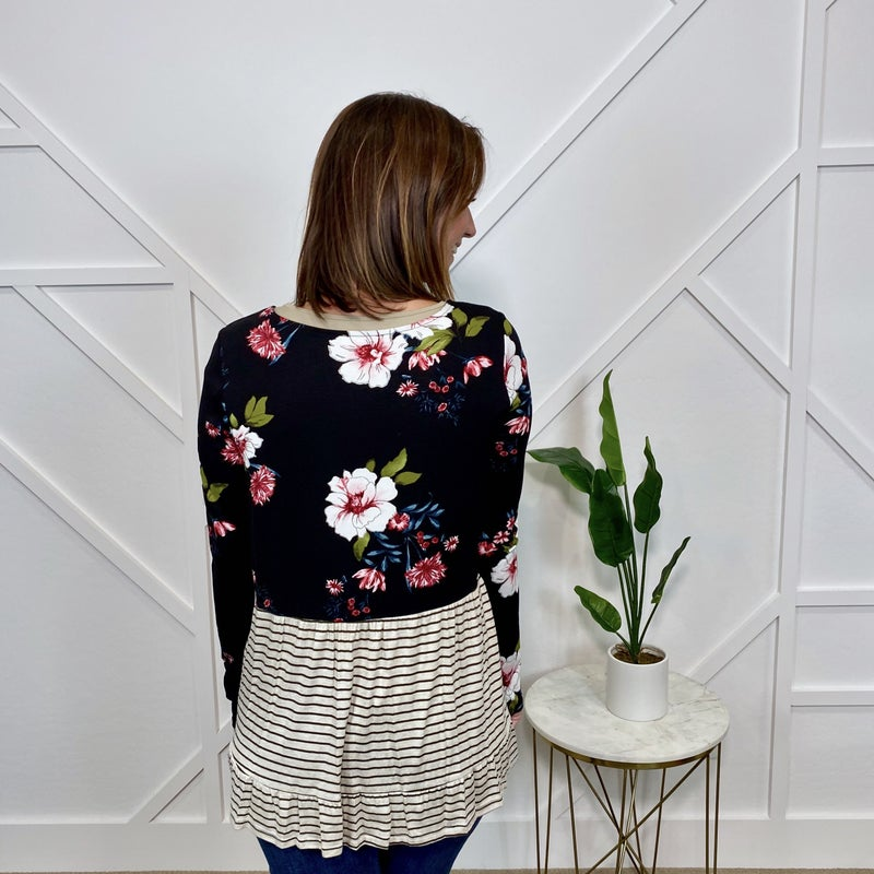 Floral stripe peplum