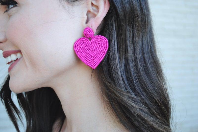 Small Beaded Heart Earring