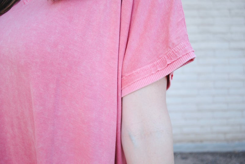 V-Neck W/Slits- Salmon