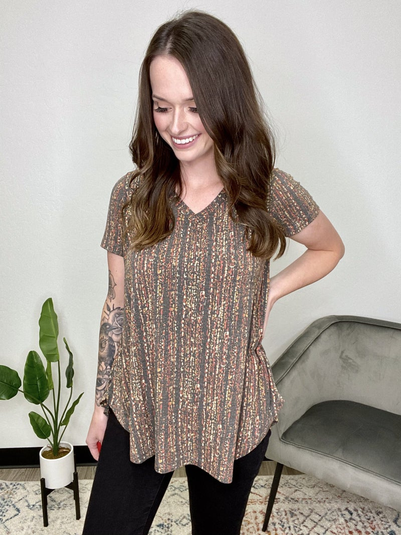 Grey Abstract Stripe Top