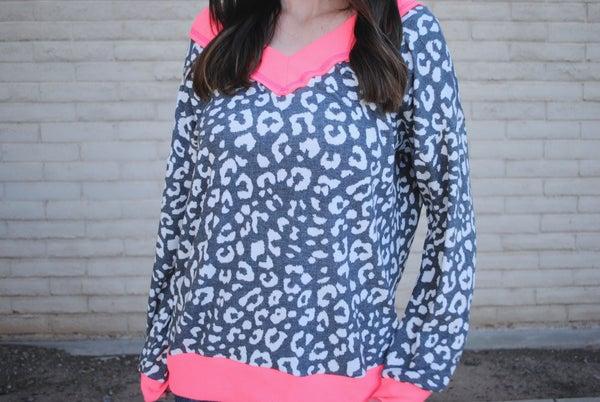 Grey Leopard w/Neon Pink Contrast