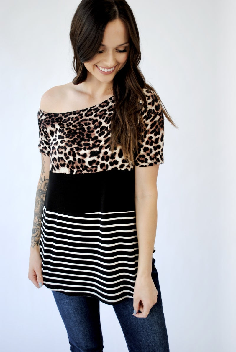Off the Shoulder Leopard Color Block Top