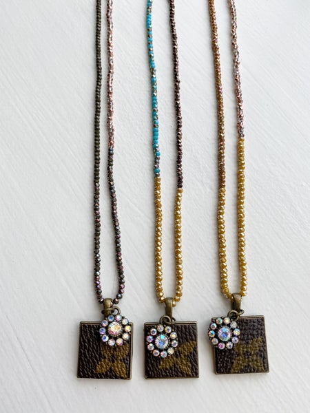 Upcycled Square Pendant + Beaded Necklace