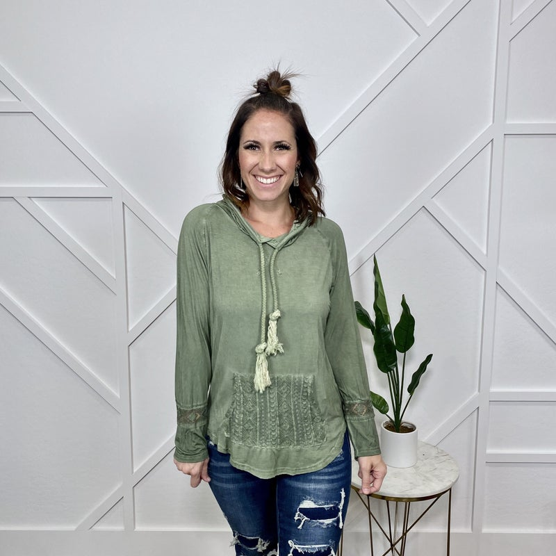 Olive Hoodie with Crochet Pocket