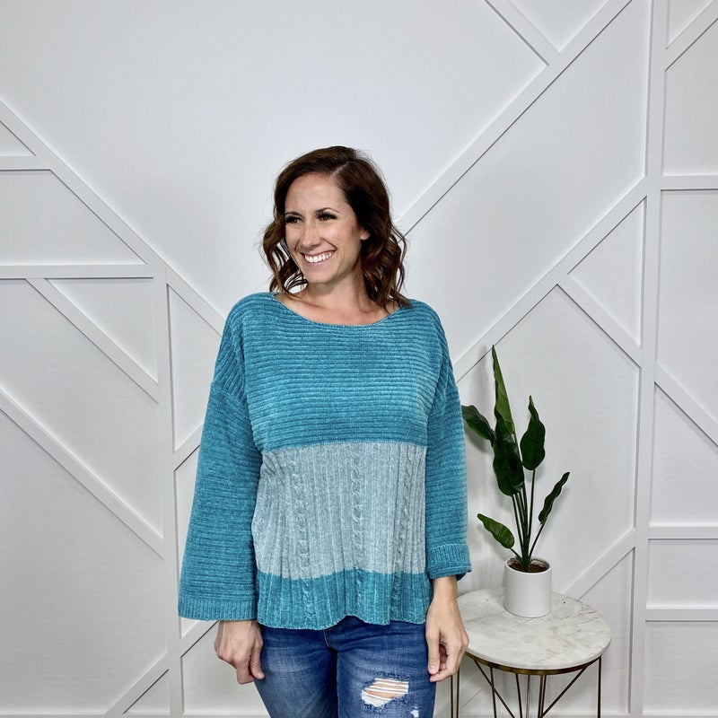 Aqua Chunky Knit Sweater