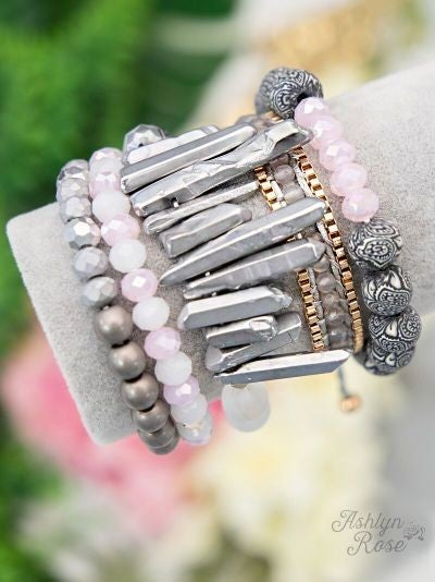 Make a Statement Bracelet Set, Grey Mix