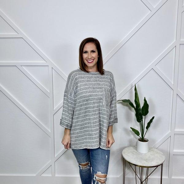 Grey Striped Sweater Top