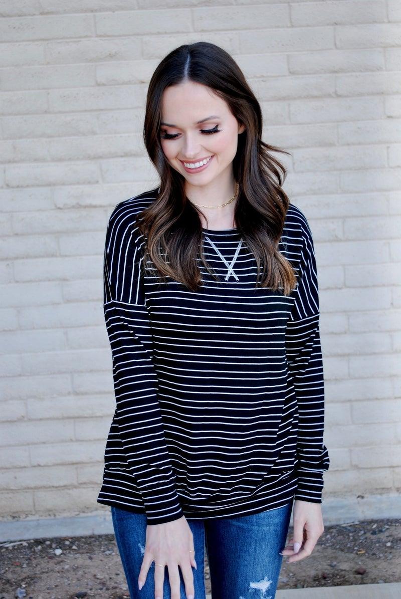 Black Striped Pullover
