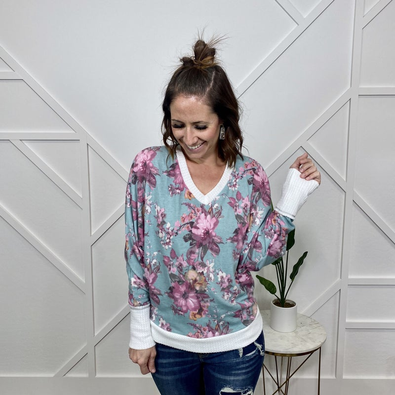 Teal Floral V-Neck Long Sleeve