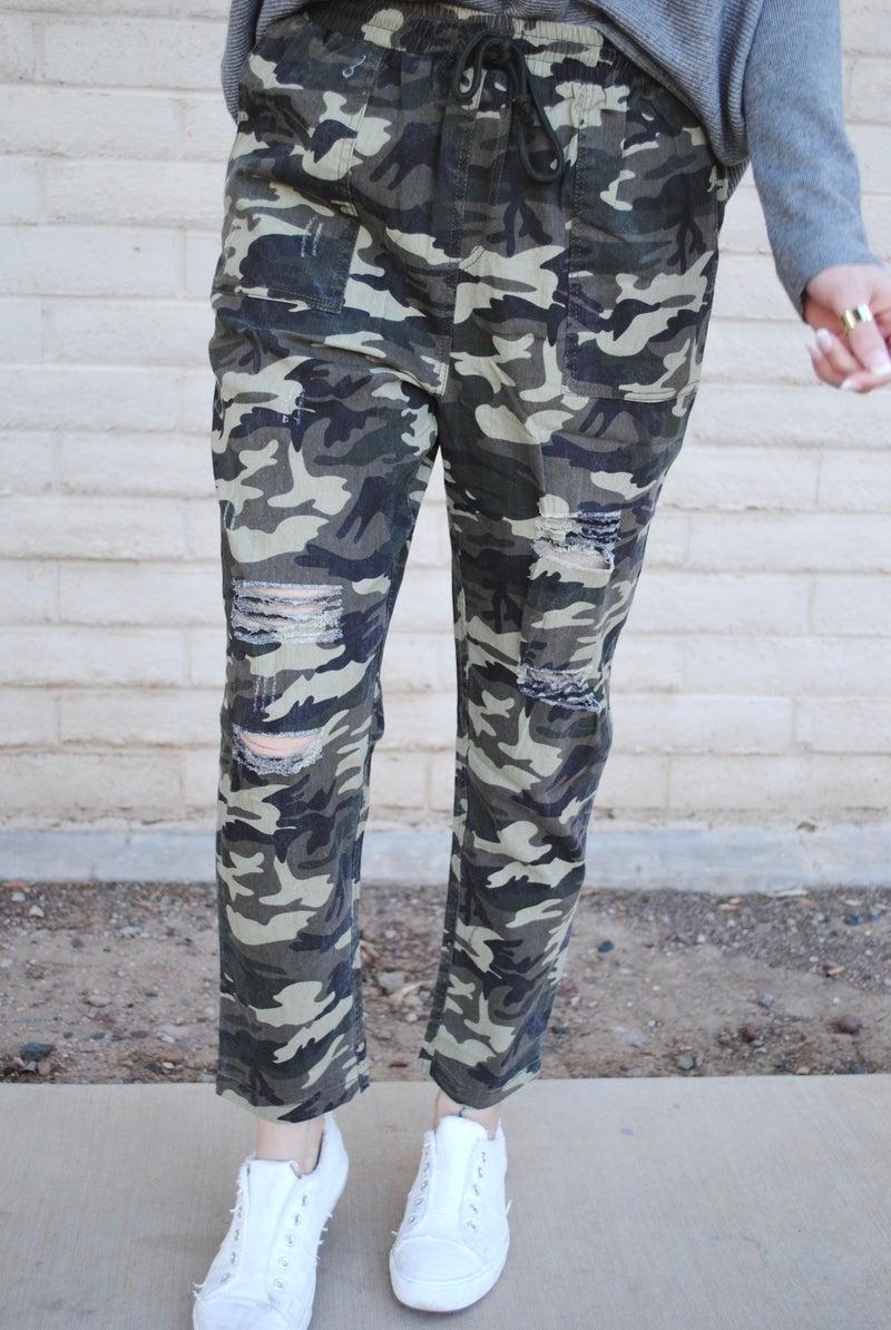 Camo Distressed Jogger Pants