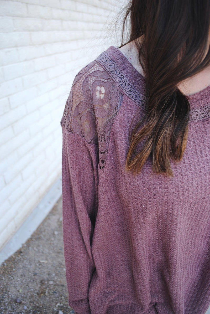 Mauve Waffle Knit with Lace Sleeve Detail