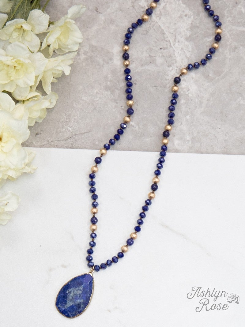 Nature's Beauty Beaded Necklace: Deep Blue