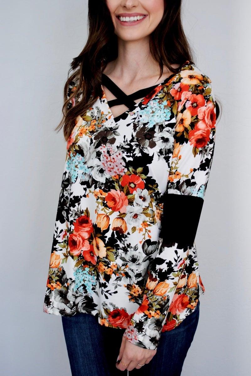 Floral Long Sleeve w/Criss Cross Top