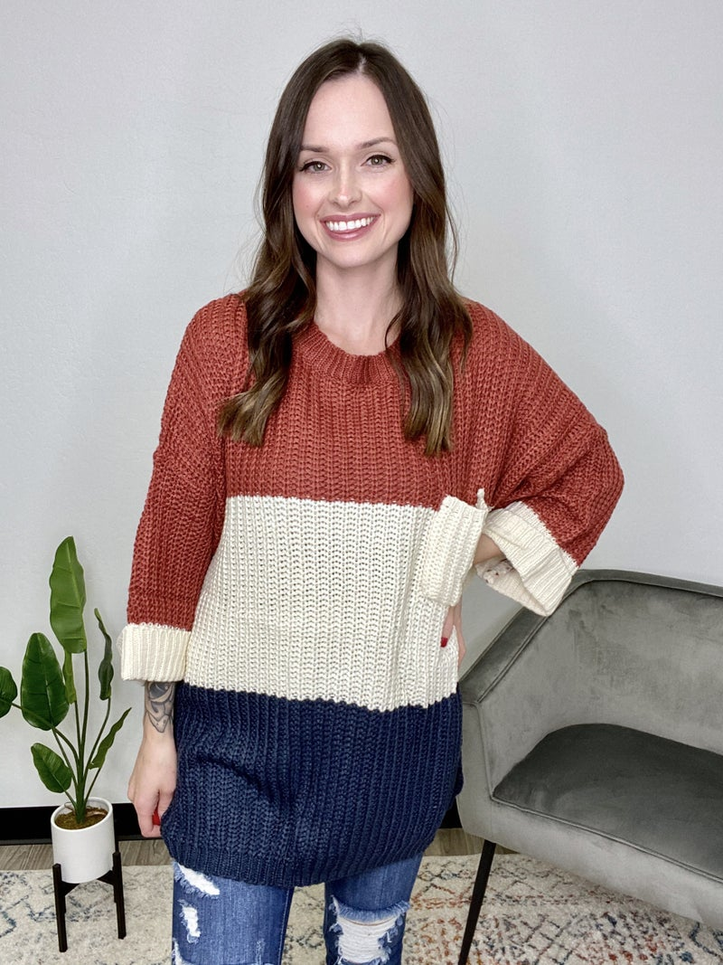 Navy Color Block Sweater