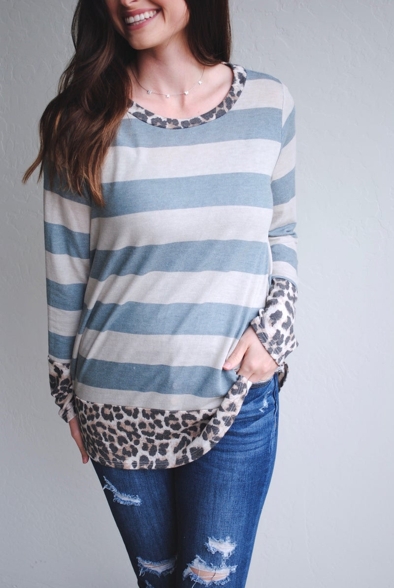 Striped Long Sleeve with Leopard Trim
