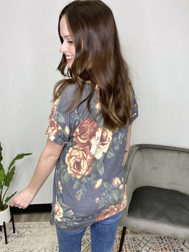 Fall Floral Boyfriend Pocket Tee