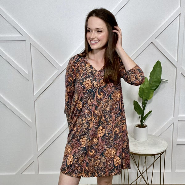 Paisley 3/4 Sleeve Dress
