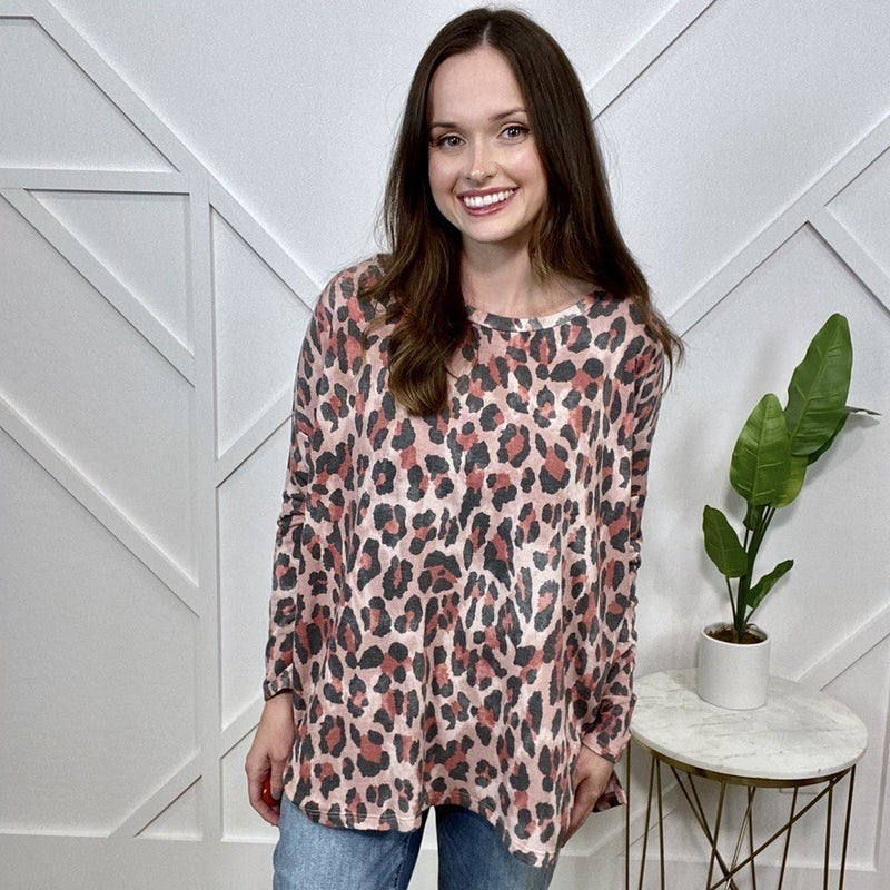 Pink Leopard Long Sleeve Top