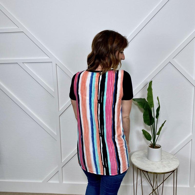 Black with Stripe back