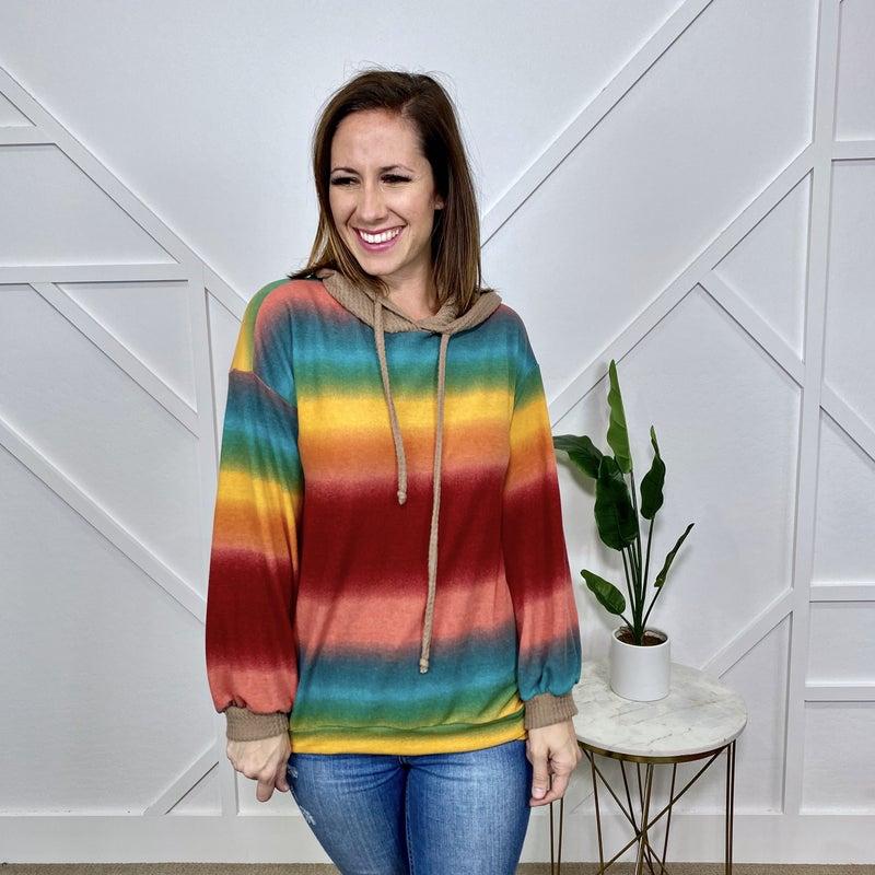 Rainbow Stripe Hoodie with Mocha Hood