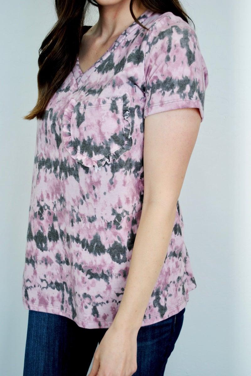 Pink Tie Dye Ruffle Pocket Top