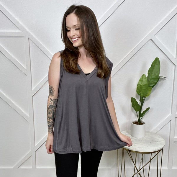 Charcoal Sleeveless V-neck Top