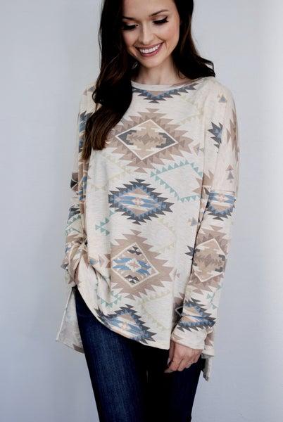 Long Sleeve Aztec Top