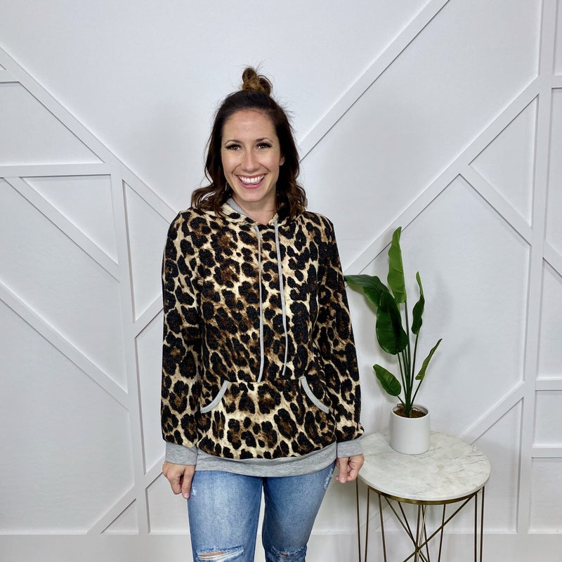 Leopard Hoodie w/Kangaroo Pockets