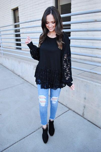 Black Lace Long Sleeve Babydoll