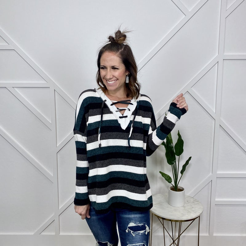 Green Multi Striped Top