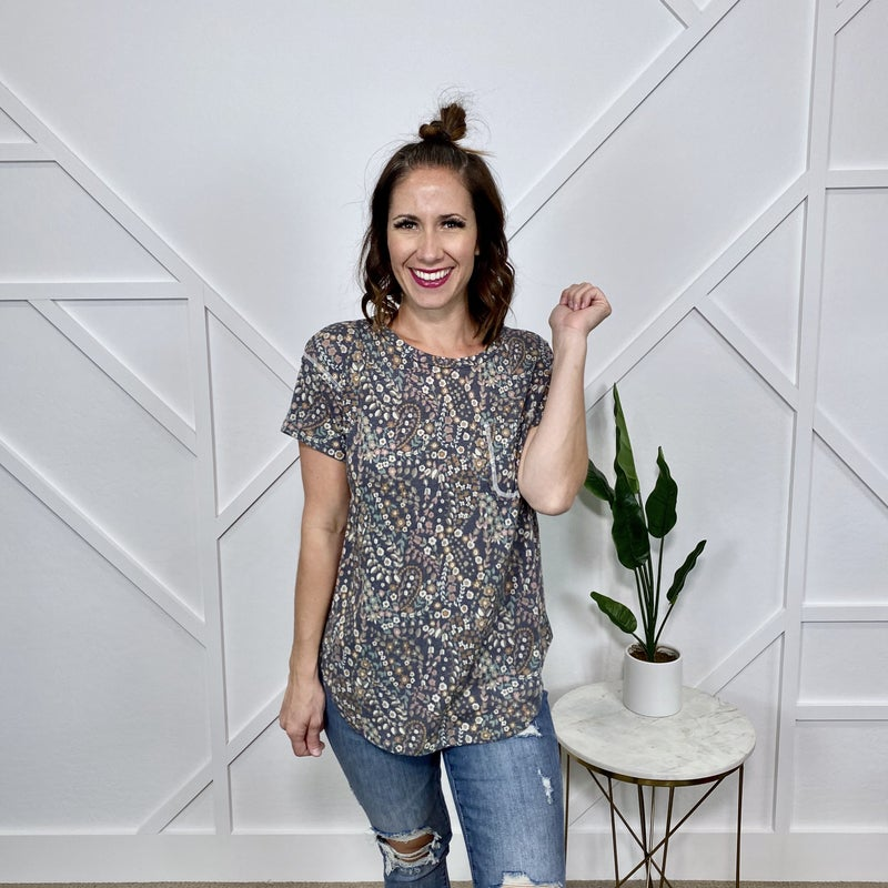 Grey and Taupe Floral Top with Pocket