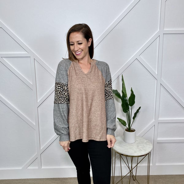Long Sleeve Leopard Block Sweater Top