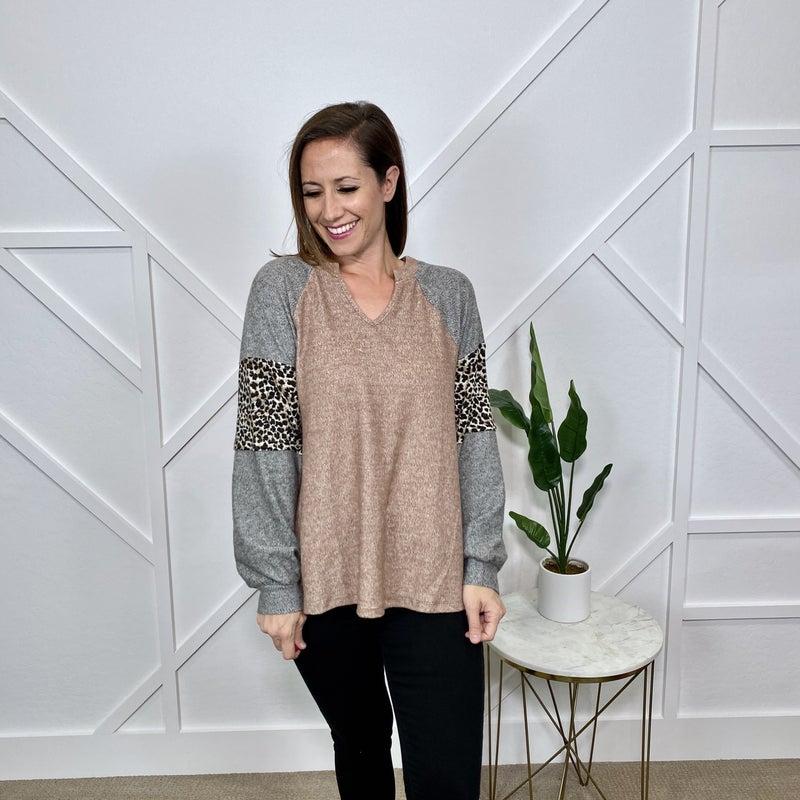 Long Sleeve Leopard Block Sweater Top